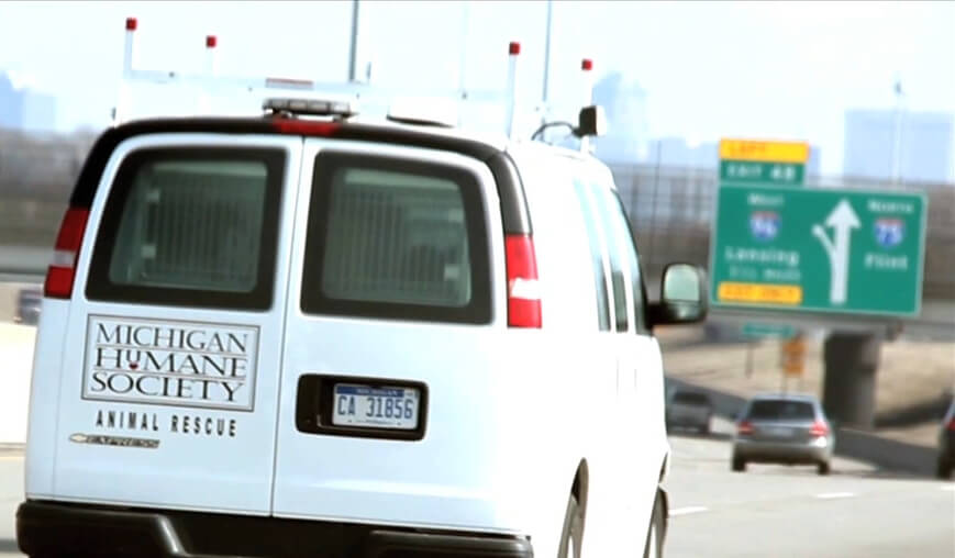 The MHS Rescue van drives through I-75 in Detroit.