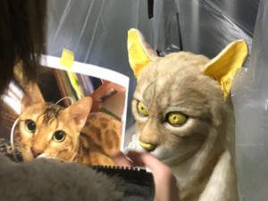 Artist sculpts a cat mask.