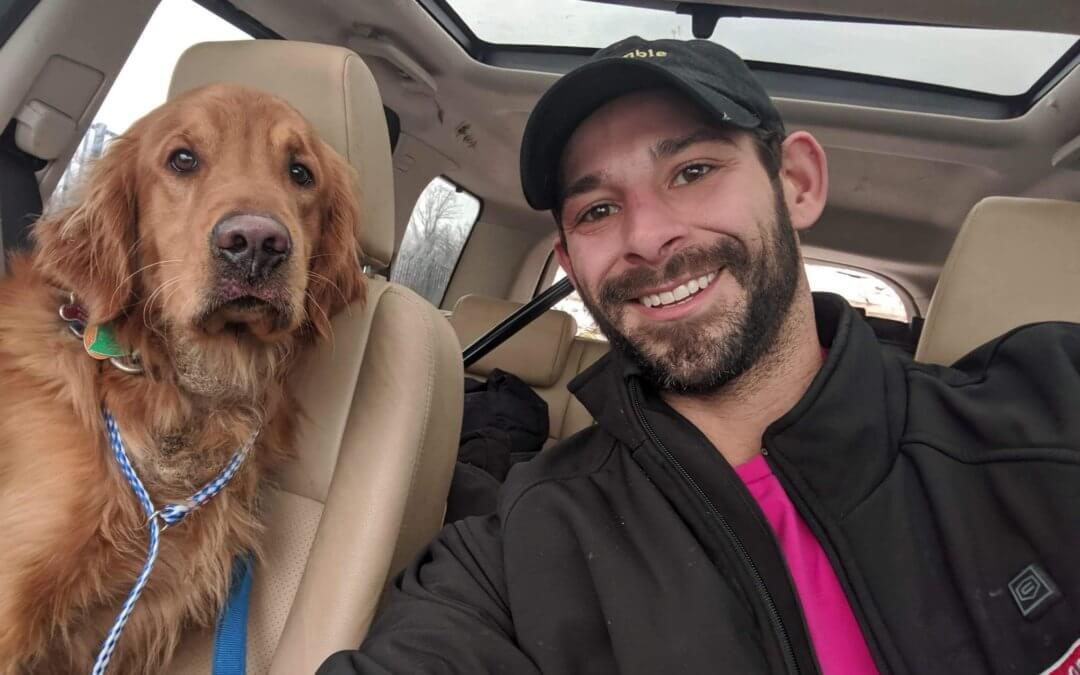 Dog red reunited with his owner Wade Stevenson.