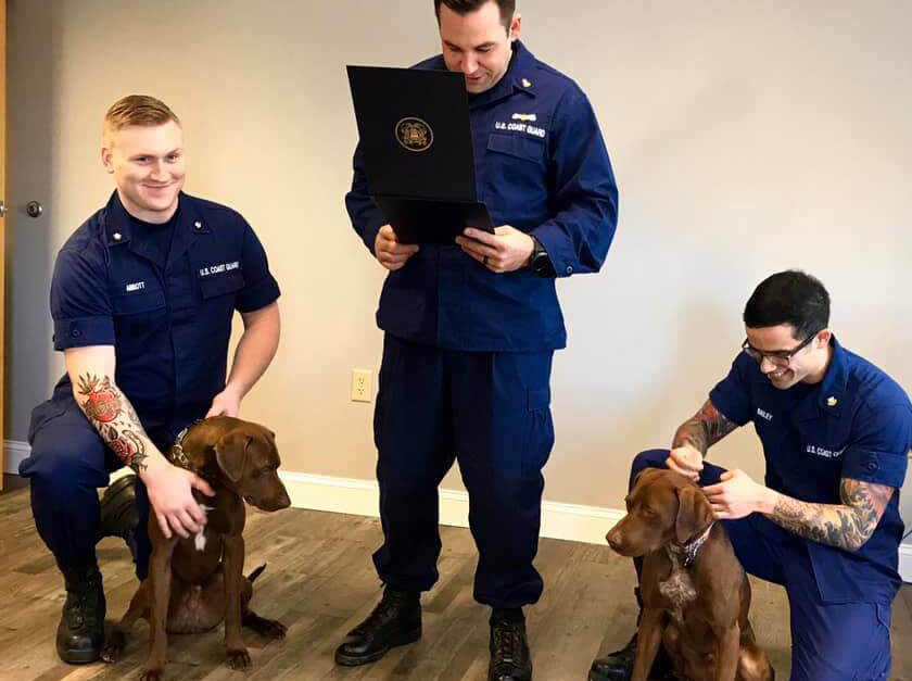 Michigan Coast Guard Station Promotes Dogs During Ceremony