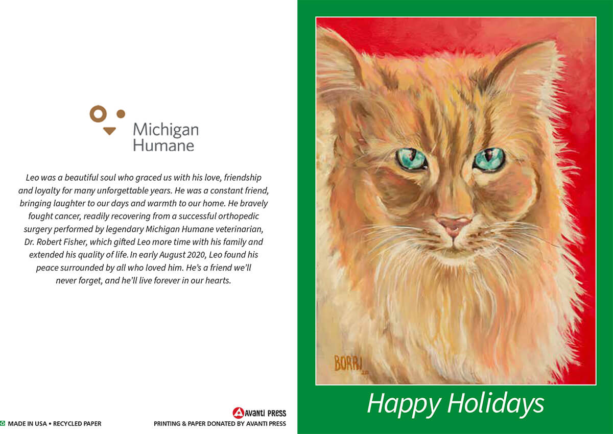 Michigan Humane 2020 Holiday Card Leo